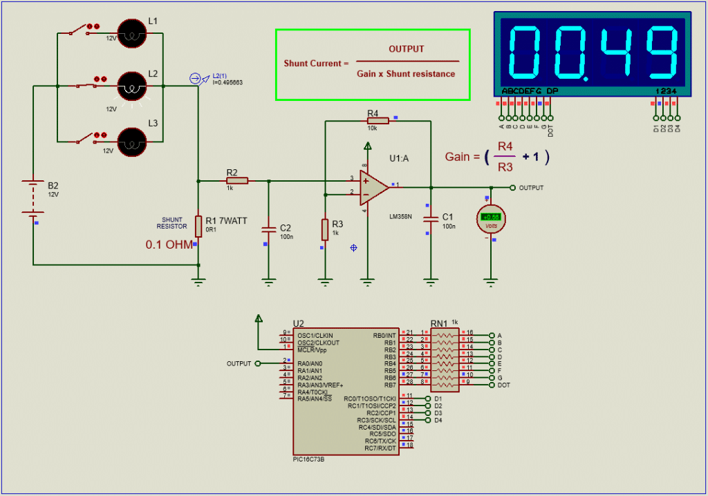 DC Ammeter with PIC16F73