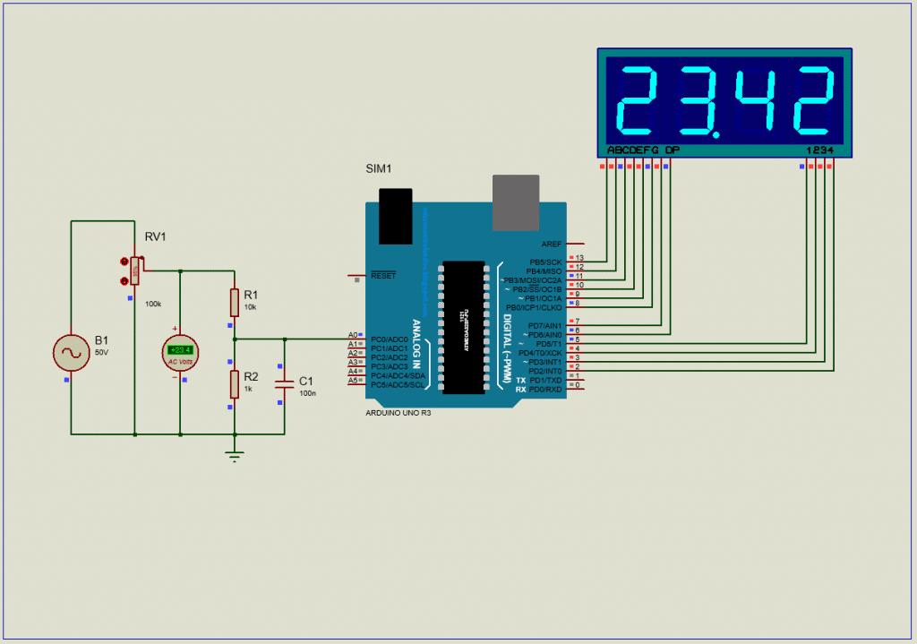 AC voltmeter using Arduino