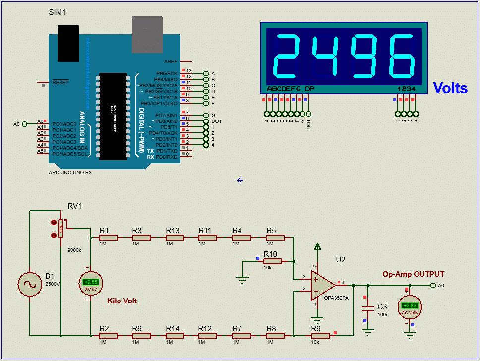 High Voltage AC voltmeter using arduino