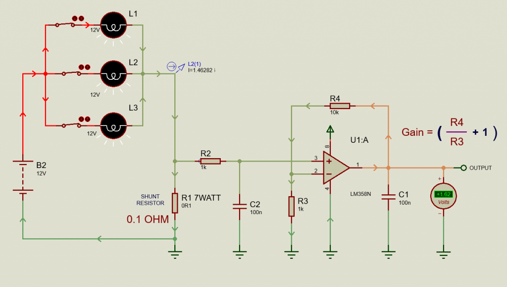 DC Current measurement using Shunt resistor and Op-Amp