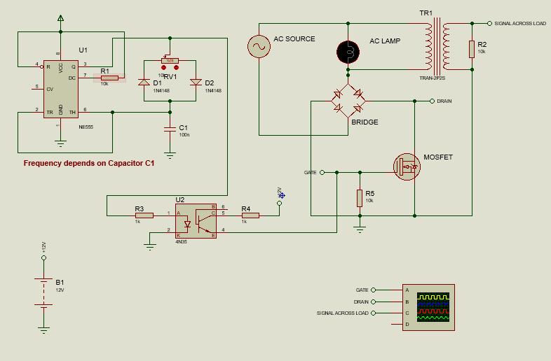 simple AC dimmer using NE555