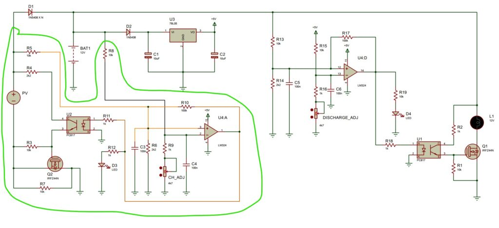 Solar Charge Controller analog circuit