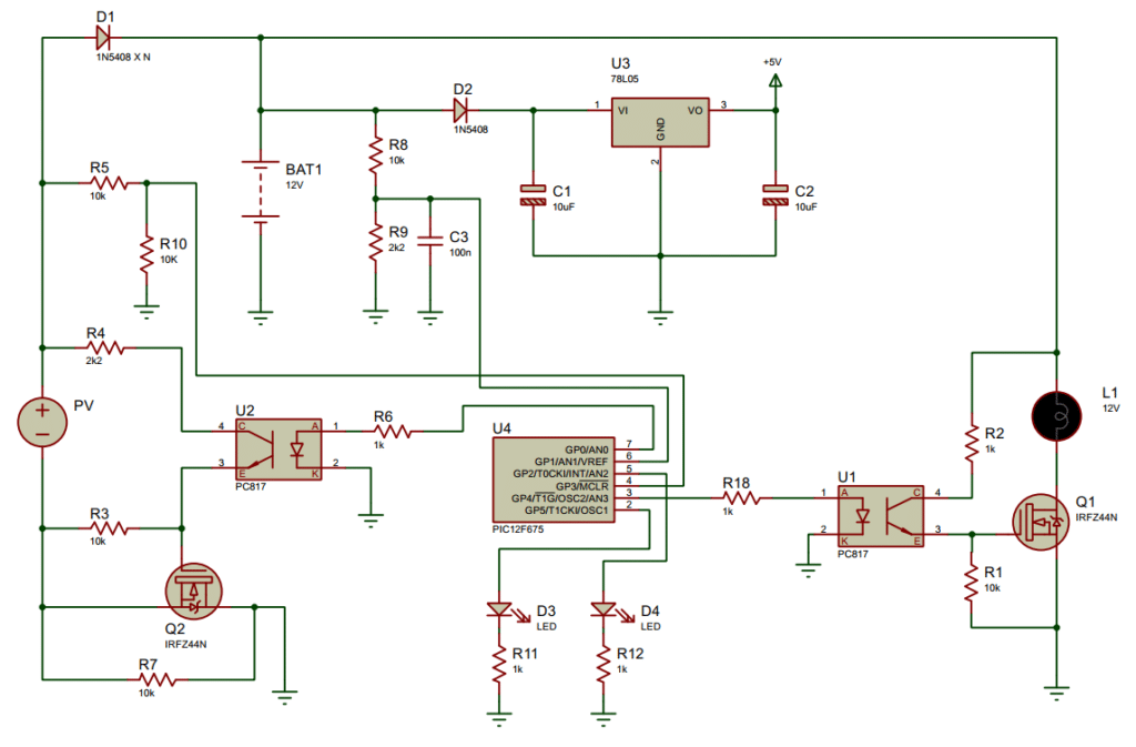 Solar Charge Controller circuit using PIC12F675