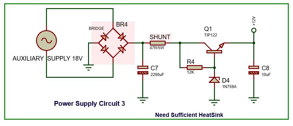 voltage regulator using transistor circuit