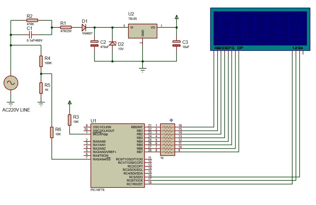 microcontroller based voltmeter, seven segment display, AC voltmeter
