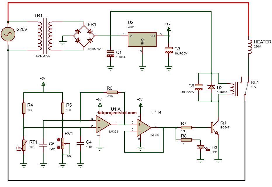 analog Temperature controller circuit diagram