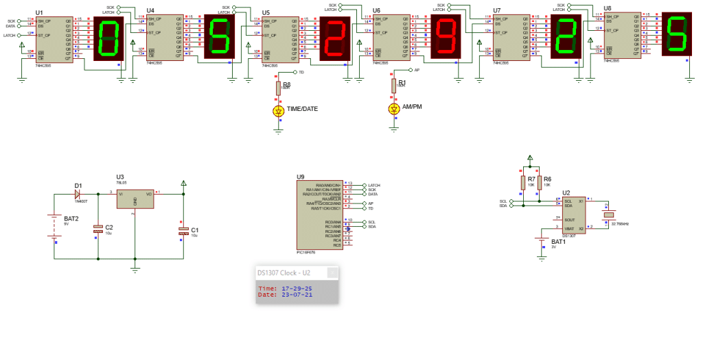 Digital clock with PIC microcontroller and shift register