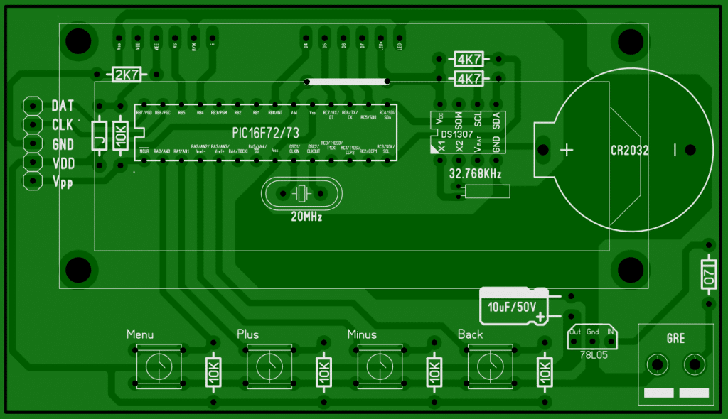 Digital clock using ds1307 and PIC16F73