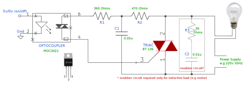 TRIAC circuit MOC3021