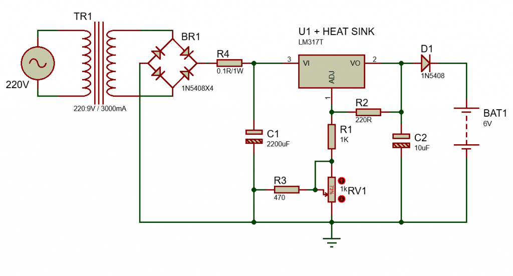 6V Lead-Acid battery charger circuit with LM317