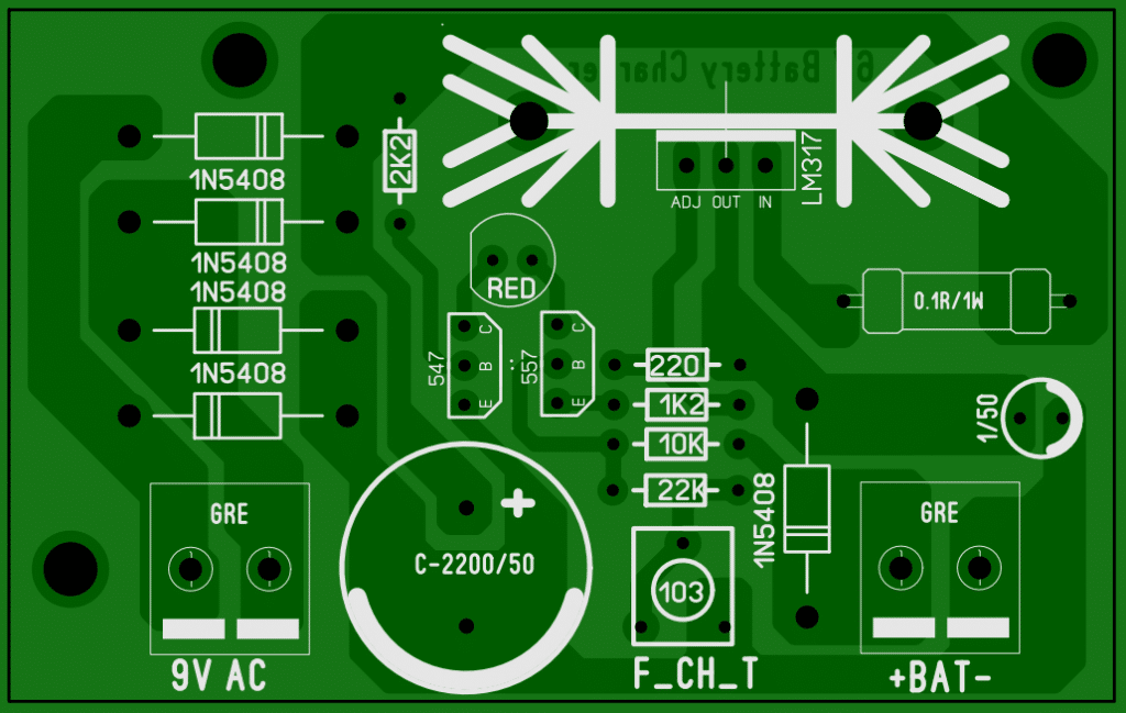 PCB for 6V Lead-Acid battery charger